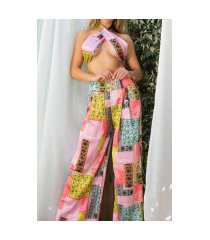 sexy luxury set- wide broek + bandeau top koraal-kleurig