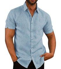 hombres botón suelto de manga corta verano cómodo lino de vacaciones de ocio camisa