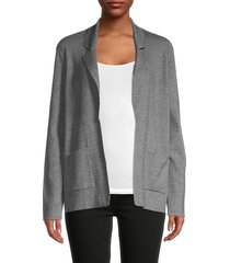 saks fifth avenue women's notch lapel cotton-blend blazer - black white - size xs