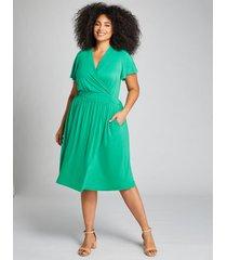 lane bryant women's flutter-sleeve crossover fit & flare dress 14/16 green