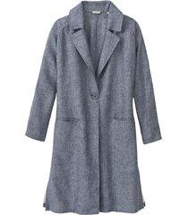 lichte linnen mantel, indigo gemêleerd 42