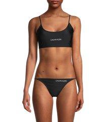 calvin klein women's logo bralette bikini top - black - size m