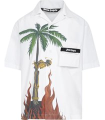 palm angels burning skeleton shirt