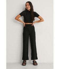 na-kd basic recycled ribbstickade raka byxor med hög midja - black
