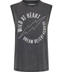 mouwloze t-shirt met tekstopdruk ariana  zwart