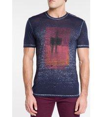 camiseta masculina floresta azul marinho calvin klein jeans - pp