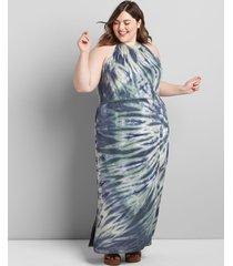 lane bryant women's halter tie-dye maxi dress 34/36 lush palm
