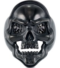 andrew charles by andy hilfiger men's cubic zirconia skull ring in black ion-plated stainless steel