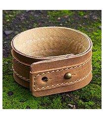 men's leather wristband bracelet, 'desert sands' (mexico)