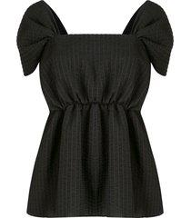 goen.j seersucker striped blouse - black