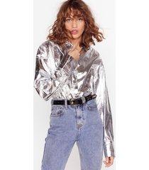 womens ain't sheen nothing metallic relaxed shirt - silver