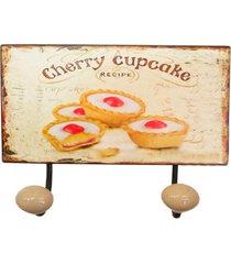cabideiro de parede cherry cupcakes - bege/multicolorido - dafiti