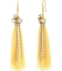 catherine malandrino women's clustered white rhinestone yellow gold-tone yellow tassel earrings