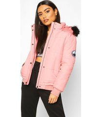 faux fur trim crop puffer jacket, dusky pink