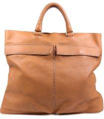 bottega veneta brown stitched leather tote bag brown sz: l