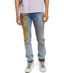 men's cult of individuality men's belted rocker slim ripped jeans, size 33 - blue