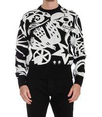 alexander mcqueen skull graffiti sweater
