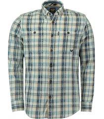 overhemd denim check blauw