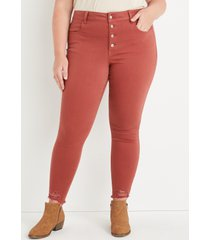 maurices plus size jeans womens jeans red high rise button fly jegging