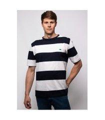 camiseta pau a pique listrada azul marinho e branco