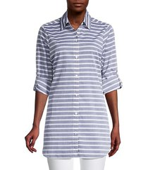 breton stripe boyfriend shirt swim coverup