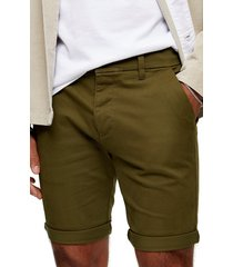 men's topman stretch skinny chino shorts, size 32 - green