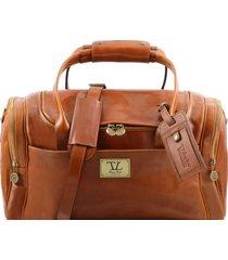 tuscany leather tl141441 tl voyager - borsone viaggio in pelle con tasche laterali - misura piccola miele