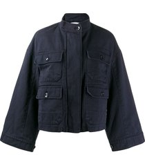 closed wide sleeve jacket - blue