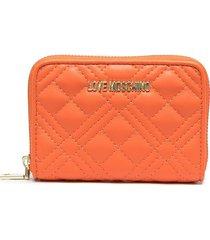 love moschino logo-plaque quilted wallet - orange