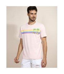 camiseta masculina tom e jerry na praia com listras manga curta gola careca rosa claro
