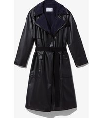 proenza schouler white label layered belted rain coat dark grey/black m