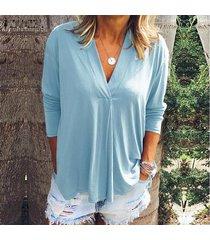 zanzea de mujer de manga larga casual llanura de la blusa floja de gran tamaño de las señoras de las tapas del puente camisa -azul claro