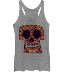 fifth sun disney pixar women's coco collage skull halloween tri-blend tank top