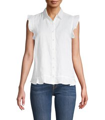 saks fifth avenue women's ruffle sleeve linen shirt - white - size m