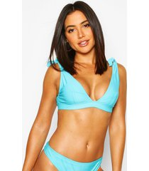 mix & match fuller bust triangle neon bikini top, turquoise