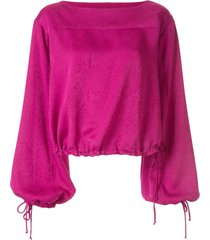 manning cartell tie cuff square neck blouse - purple