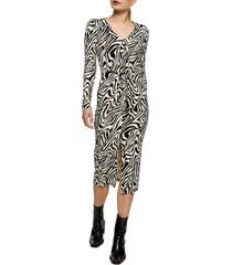 women's topshop twist tie long sleeve midi dress, size 8 us - black