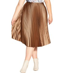 plus size women's city chic pleated satin skirt, size large - brown