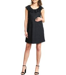 women's maternal america ruffled maternity dress, size x-small - black