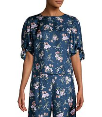emilia floral short sleeve tie top