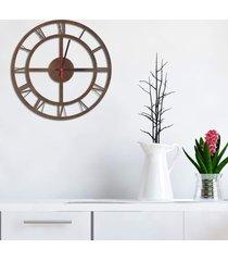 relógio de parede decorativo premium números romanos vazado corten médio