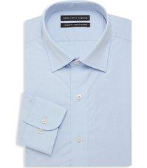 saks fifth avenue men's pindot classic-fit dress shirt - blue - size 16 32