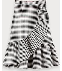 scotch & soda checked wrap skirt