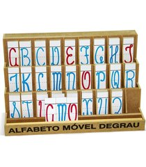 alfabeto móvel degrau cursivo - mdf - 130 peças  - carlu
