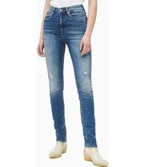 jeans skinny tiro alto azul calvin klein