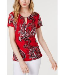 inc hardware paisley surplice top, created for macy's