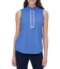 lace-trim linen-blend sleeveless blouse