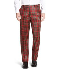 men's berle touch finish flat front classic fit plaid wool trousers, size 35 x unhemmed - red