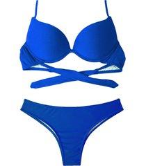 biquíni bojo bolha alça estreita divance azul bic calcinha tradicional