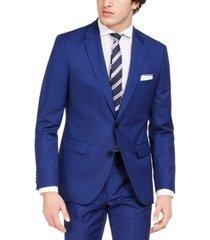hugo hugo boss men's modern-fit bold blue solid suit separate jacket